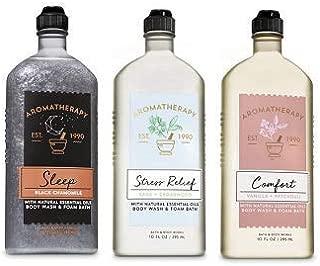 Bath and Body Works 3 Pack Aromatherapy Body Wash & Foam Bath 10 Oz. Sleep (Black Chamomile), Stress Relief (Sage Cedarwood) and Comfort (Vanilla Patchouli).