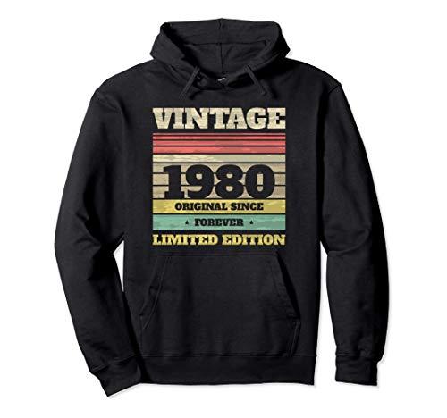 Cumpleaños 40 Años en 2020 Vintage 1980 Limited Edition Sudadera con Capucha