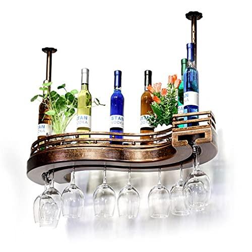 LWF Techo Colgado Estante de Vino con Soporte De Vidrio, Botelleros Vino Montado En La Pared Industrial Metal Ajustable para Barra Gabinete Cocina para El Hogar(Size:60×23CM)