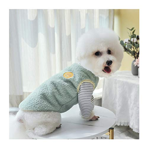 Loyanyy Warm Plush Dog Vest for Winter Soft Fleece Lining Sweater for Small dog Cat Cute Puppy Kitten Clothes Green 14