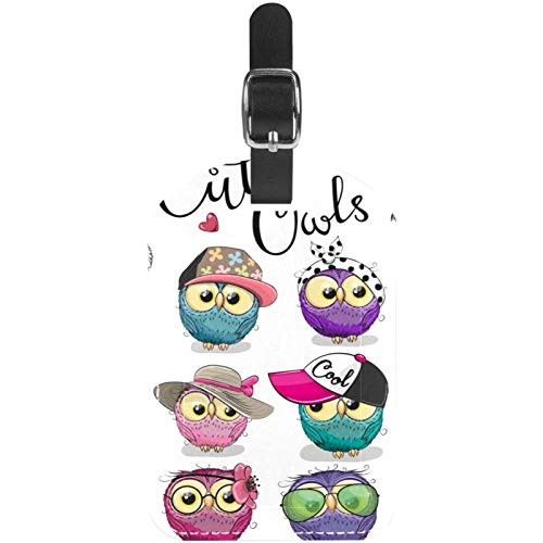 Luggage Tags Furry Owl Team Leather Travel Suitcase Labels 1 Packs