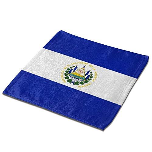 Yuanmeiju Toalla Cuadrada El Salvador Flag Square Washcloths Face Wash Cloth Fingertip Towel Rags Soft Merch Gift and Absorbent 13 x 13 Inches