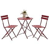 Grand patio 3pc Metall Falten Bistro-Set, 2 Stühle und 1 Tisch,Wetterresistent Draußen drinnen Gesprächsset für Patio,Hof,Garten (Rot)