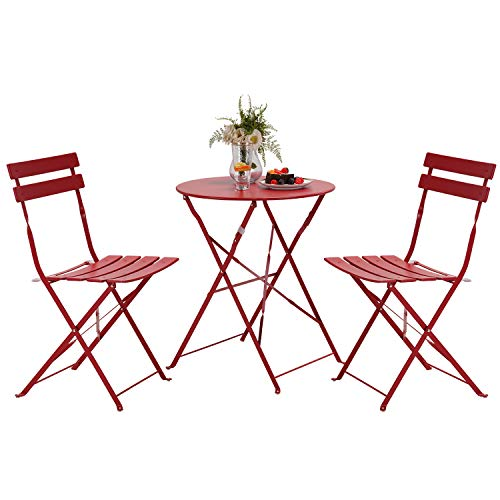 Grand patio Balcony Chair and Table Set, 2 Chairs and 1 Table, Premium Steel, Easy to Fold, Bistro Table and Chairs for Balcony,Yard, Garden, Various of Colours (Red)
