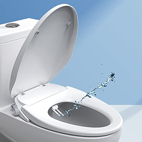 Bidet Toilet Seat Bidet Seat with Self-Cleaning Dual Nozzles Rear & Feminine Washing, Fit for Elongated Toilet Leak-proof Metal T Connector Hose Easy Installation, Adjustable Water Pressure SANIWISE