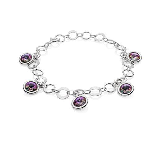LillyMarie Damen Armband Sterlingsilber 925 Swarovski Elements Edel-Steine Mehrfarbig-lila Längen-verstellbar Geschenkverpackung Geschenk zum Muttertag