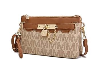 MKF Crossbody Bags for Women Wristlet Strap – PU Leather Shoulder Handbag – Small Pocketbook Messenger Purse Beige