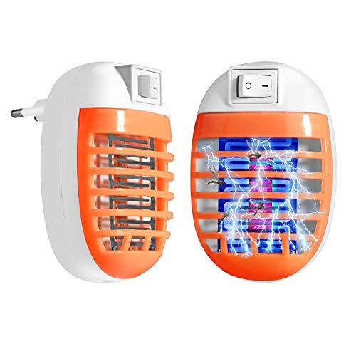 FISHOAKY Lampara Mata Mosquitos Electrico, Repelente Mosquito Tropical, 2 Pack UV Lámpara Anti Mosquitos Socket LED Luz Mata Mosquitos, Insectos, Polillas, Moscas Enchufe EU (Naranja)