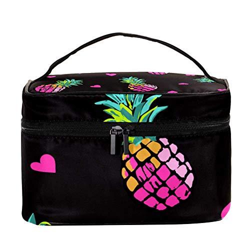 Shiiny Pink Coeurs et Ananas Multifonction Portable Organiseur de toilette pour les femmes Voyage Sacs cosmétiques avec poche en filet