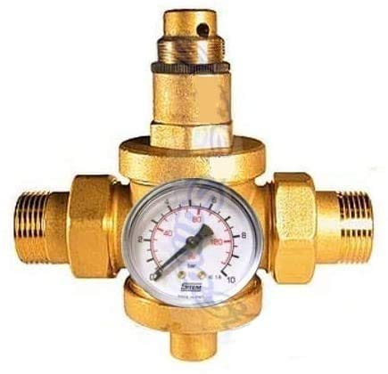 Grifería Malgorani reductor de presión de agua 3/4' F-F con manómetro