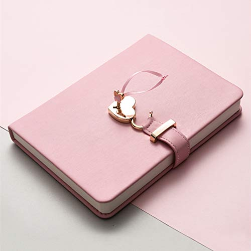 A5 PU Leather Journal for Writing,Journal Notebooks with Lined Inner Pages,Composition Notebook Journal Diary with Hrart-Shaped Lock and Key for Girls and Women,1 Pack,Pink