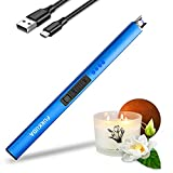 Electric Candle Lighter Plasma Arc Lighters Windproof & Flameless with USB Rechargeable Battery Double Safety Switch (Sapphire Blue)