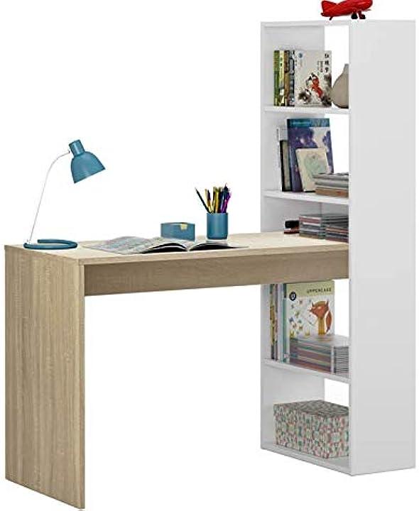 Scrivania reversibile con libreria a cinque ripiani, colore bianco e rovere, cm 120 x 144 x 53 dmora 8052773541411