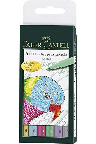 Faber Castel Art and Graphic, Pitt Artists Pens, Set of 6 Brush Tip (B), Pastel Colors (FC167163)