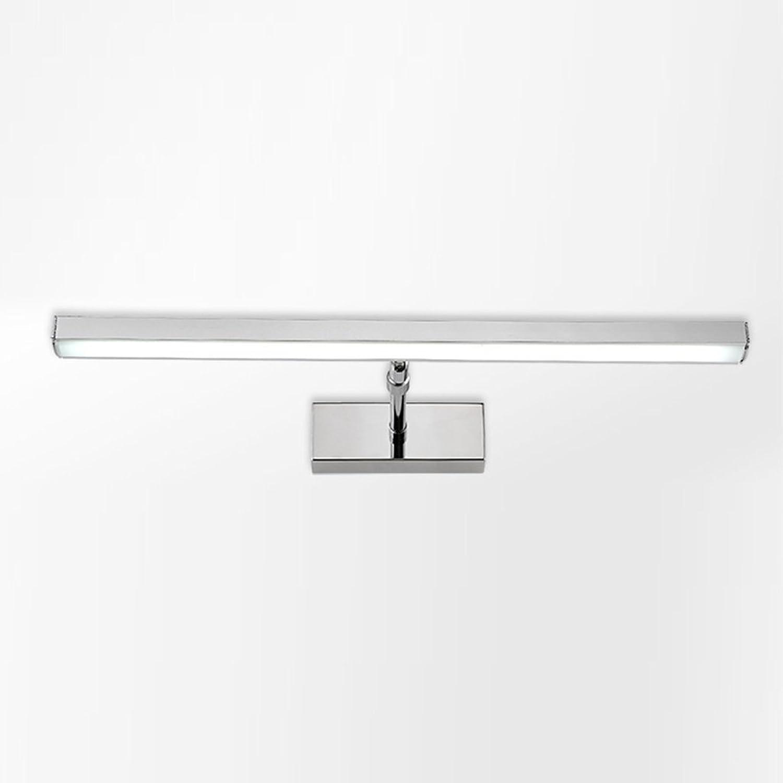 YSDHE LED-Badezimmer-Kosmetikspiegel-Spiegel, der einziehbaren Wasserdichten Antibeschlag-Edelstahl-Silber beleuchtet (Farbe   Warmes licht, gre   53cm12w)