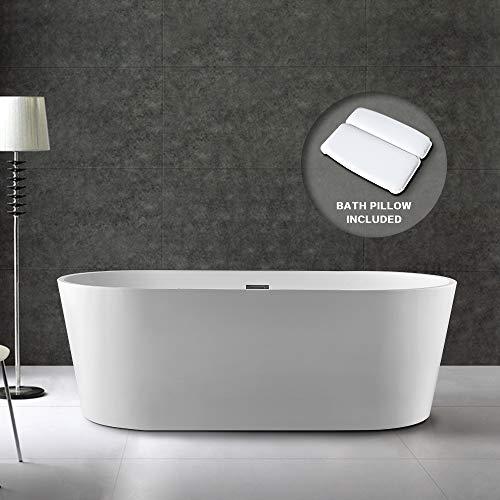 BATH MASTER Freestanding Bathtub Acrylic Bathroom Soaking Tub with Chrome Overflow and Drain (59', T03)