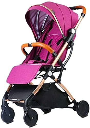 Cochecito liviano para bebés Portátiles livianos cochecitos de cochecito de viaje de cochecito con arnés de seguridad de 5 puntos, para recién nacidos y niños pequeños (Color : Fuchsia)