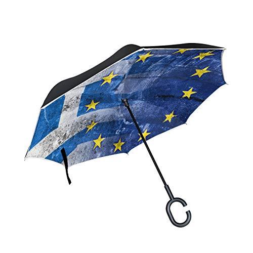 Double Layer Inverted Umbrella Winddichte Regensonnen-Regenschirme mit C-förmigem Griff - Flagge Griechenlands und der Europäischen Union