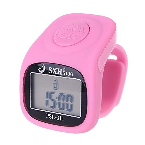 BH5FYU603-3 Fingerzähler - 6 Digital Finger Tally Counter 8 Kanäle mit LED-Hintergrundbeleuchtung Zeit Chanting-Gebet Silikonring Elektronischer Handzähler Zählerzählung. (Color : Pink)