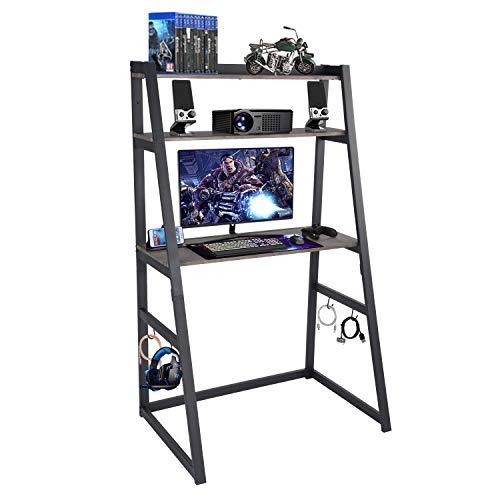 FurnitureR Escritorio para computadora con estantería para libros, escalera, mesa para computadora portátil, escritorio de estudio industrial para estudiantes 90 (ancho) X 60...