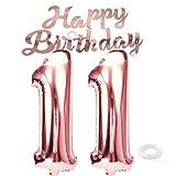 SNOWZAN Globo de cumpleaños número 11, color oro rosa, niña, número 11, globo gigante de helio, número 11, globos con números grandes de 11 años, XXL, guirnalda de 32 pulgadas, número 11, para fiesta