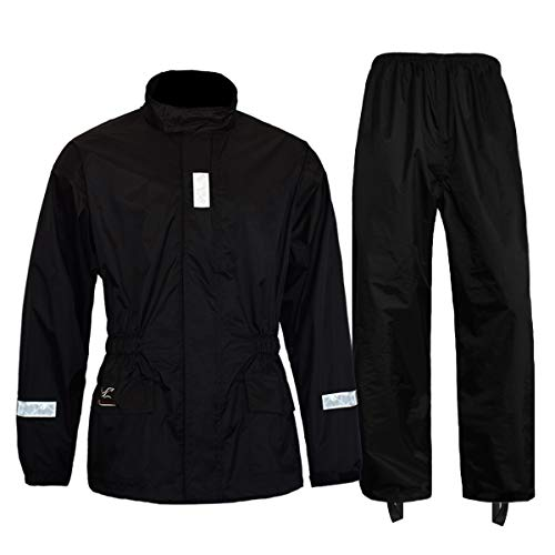 FWG Rain Suit for Men Women Motorcycles Cycling Waterproof Rain Jacket with Pants Reflective tape (XX-Large, Black)