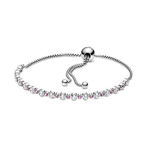Pandora Damen Silber-Armband Pink & Clear Sparkle 598517C02, 598517C02-1, mehrfarbig, 23cm