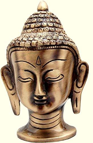eSplanade Brass Buddha Face Showpiece | Buddha Head | Home Decor | Idol | Metal Statue | Figurine | Murti | Tibetan Buddhist Statue (Buddha Head Big)