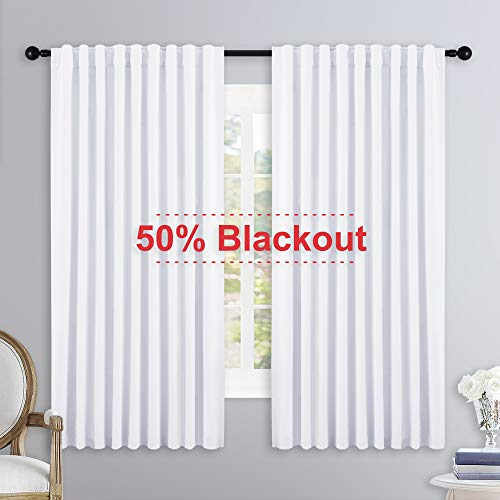 NICETOWN Living Room Curtain Drapes - (White Color) W70 x L63, Set of 2, Window Treatment Drapery Panels
