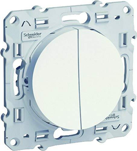 Schneider Electric SC5S52A214 Odace - Interruptor doble (230 V), color blanco