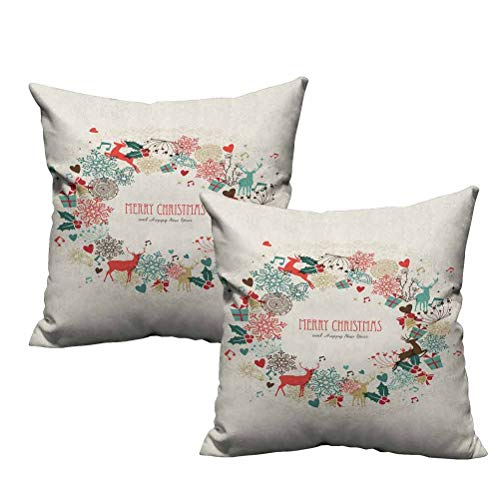 Two Piece Throw Pillow Cushion Cover Vintage Garland Inspired Round with Hand Drawn Style Cute Seasonal Figures Print 26'x26',Standard Size