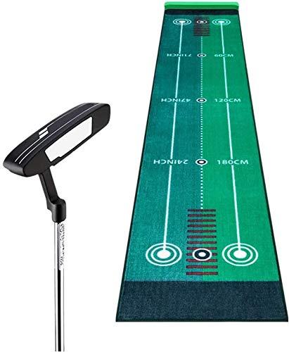 Home Golf Putting Golf fluwelen putting trainer, met dubbele richtende hulplijn, golfpraktijk deken, golf mat, 50 * 300cm, draagbaar indoor kantoor en outdoor golf oefentermat LBWARMB