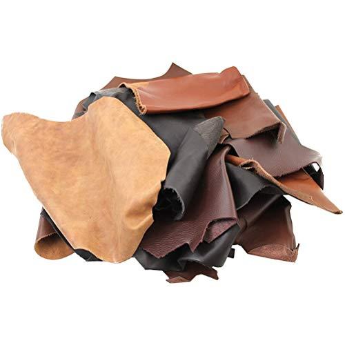 1 kg läderbitar olika nyanser bruna blandade och olika storlekar hantverksdelar idealiska för alla hantverksarbete