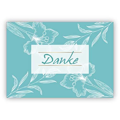Edle botanische Dankeskarte, türkis mit Blüten für Glückwünsche, Mitarbeiter, Familie & Freunde: Danke • edle Klappkarte mit Umschlag zum bedanken, geschäftlich & privat
