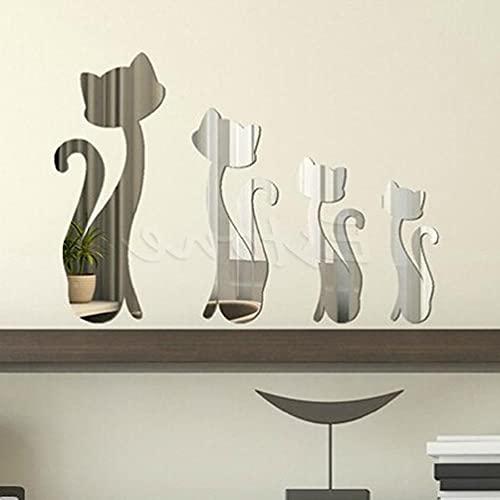 4 unids gatos gatito espejo hogar arte mural DIY pared calcomanía decoración mármol contacto papel mármol contacto papel para encimeras impermeable baño cocina mate papel papel pintado pelar y