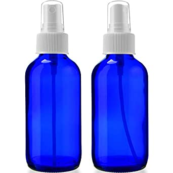 2 Empty Blue Glass Spray Bottles - 4oz Refillable Bottle is Great for Essential Oils, Organic Beauty Solutions, Homemade Cleaning and Aromatherapy - Small Portable Misters with Caps and Labels - 2 Pack