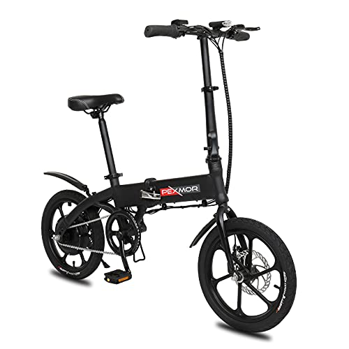 """OLYM STORE 16"""" Folding Electric Bike, 36V 6Ah Lithium-Ion Battery 240W E-Bike with LCD Display & Dual Disc, Throttle & Pedal Assist for Adults and Teenagers"""