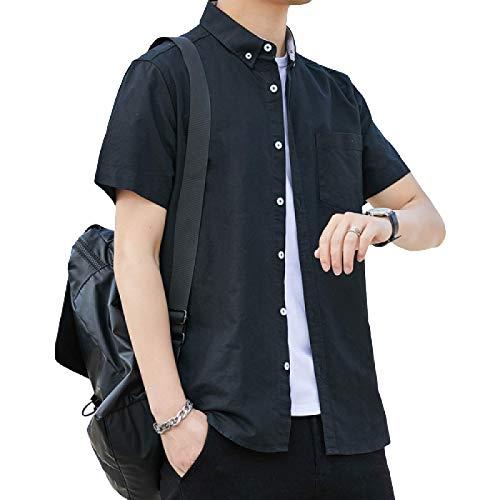Camisa de Manga Corta para Hombre Cárdigan de algodón de Corte Entallado de Color Liso Camisa Casual de Calidad básica clásica para Primavera y Verano Medium