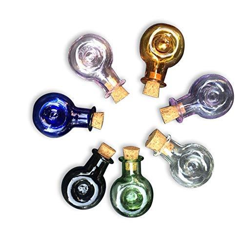 Jarvials - Mini frasco de cristal con tapón de corcho para boda, regalo de Navidad, pequeño frasco en conserva, 7 colores (7 lot/forma de botella de vino)
