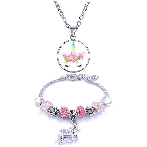 Yiran Girls Magical Unicorn Jewelry Set Sparkly Crystal Charm Rhinestones Bracelet Necklace with Gift Box Greeting Card For Girls Play Pretend Dress Up, Nice Gifts For Christmas And Birthday
