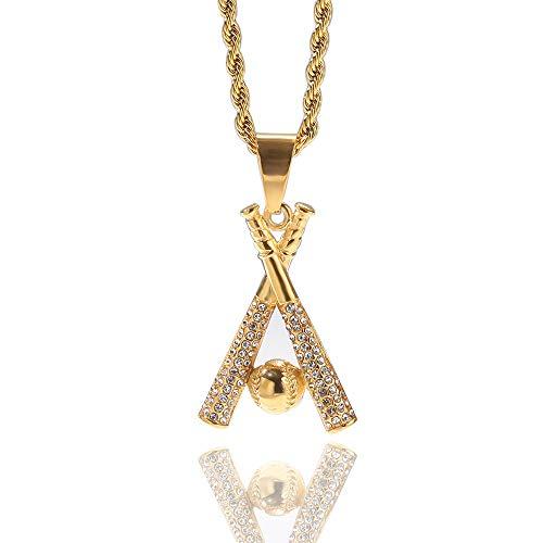 WusaiB Shiny Hip Hop Baseball Anhänger Luxus Diamant Halskette Iced Out Seil Kette Halskette Punk Style Strass Anhänger Cool Bling Schmuck für Männer