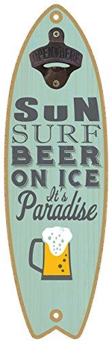 (SJT07223) Zon. Surfen. Bier op ijs. Het is paradijs. (bierafbeelding) Fles Opener 5