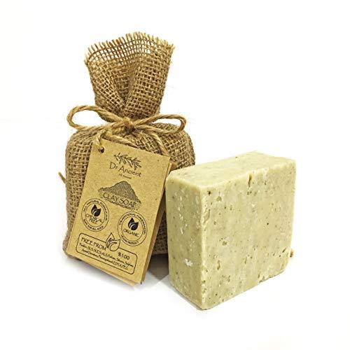 Organisch Natuurlijk Vegan Traditioneel Handgemaakt Antiek Klei Zeep - minerale peeling, exfoliërende, poriënminimizer, behandelt acne en vette huid - Geen Chemicaliën, Pure Natuurlijke Zeep!