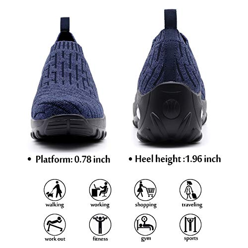 STQ Walking Shoes for Women Comfortable Lightweight Sneakers Wide Fit Trainers Breathable Mesh Running Road Shoes, 9 UK, Blue