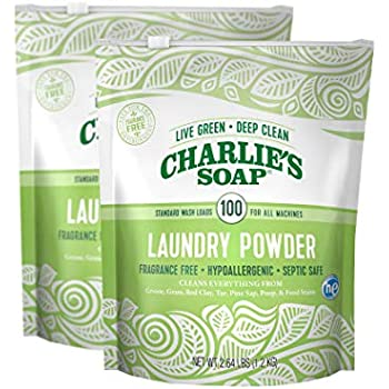 Charlie's Soap Laundry Powder (100 Loads, 2 Pack) Hypoallergenic Deep Cleaning Washing Powder Detergent – Eco-Friendly, Safe, and Effective