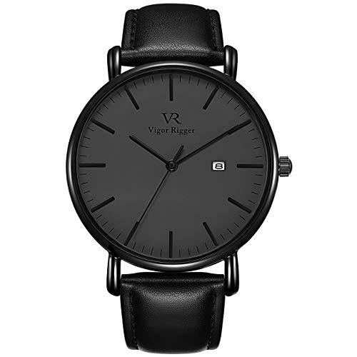 Vigor Rigger Reloj para Hombre Unisex Reloj de Pulsera de Cuarzo Moderno Ultra Delgado Negro Dial analógico con Calendario Mineral Cristal Piel de Becerro de Cuero Correa