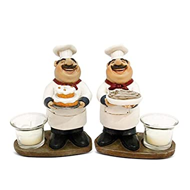 Turtle King Set of 2 Chef Statues Votive Candle Holder, 6.5  H, White, 2 Piece