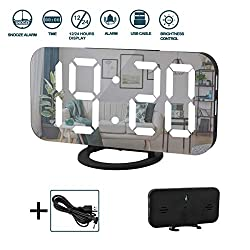 Digital Alarm Clock,6 Large LED Display with Dual USB Charger Ports | Auto Dimmer Mode | Easy Snooze Function, Modern Mirror Desk Wall Clock for Bedroom Home Office for All People