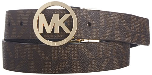 Michael Kors Mk Signature Monogram Belt and Buckle Reversible, Chocolate, Medium