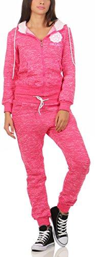 Fashion4Young 10628 Damen Jogginganzug Jacke Joggpants Sportanzug Fitness Trainingsanzug Camouflage (XL/42, pink)